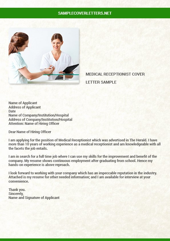 Cover Letter for A Receptionist Fresh Medical Receptionist Cover Letter
