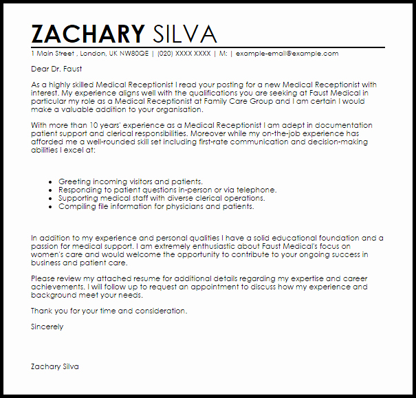 Cover Letter for A Receptionist Lovely Medical Receptionist Cover Letter Sample