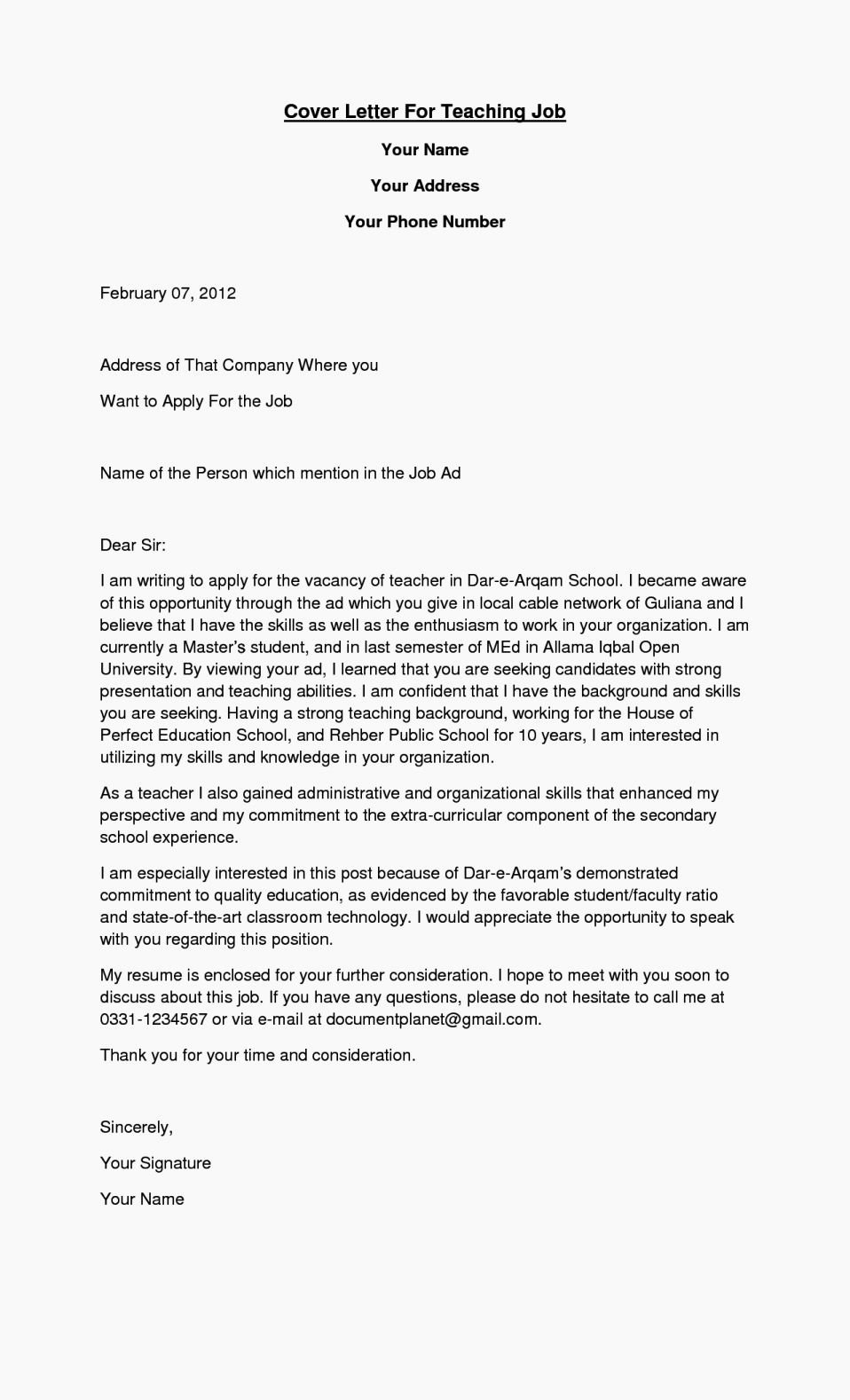 Cover Letter for A Teacher Best Of Cover Letter Teachers assistant