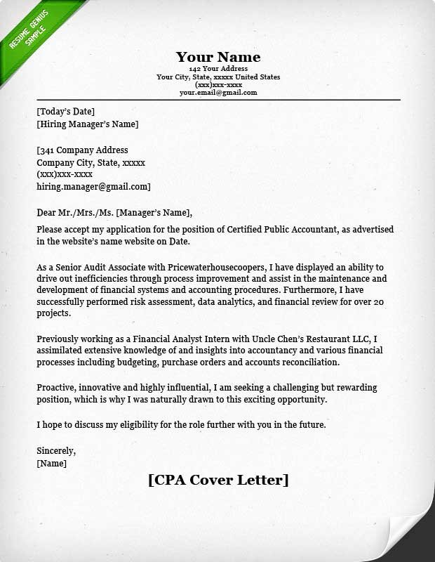 Cover Letter for Accountant Awesome Accounting & Finance Cover Letter Samples