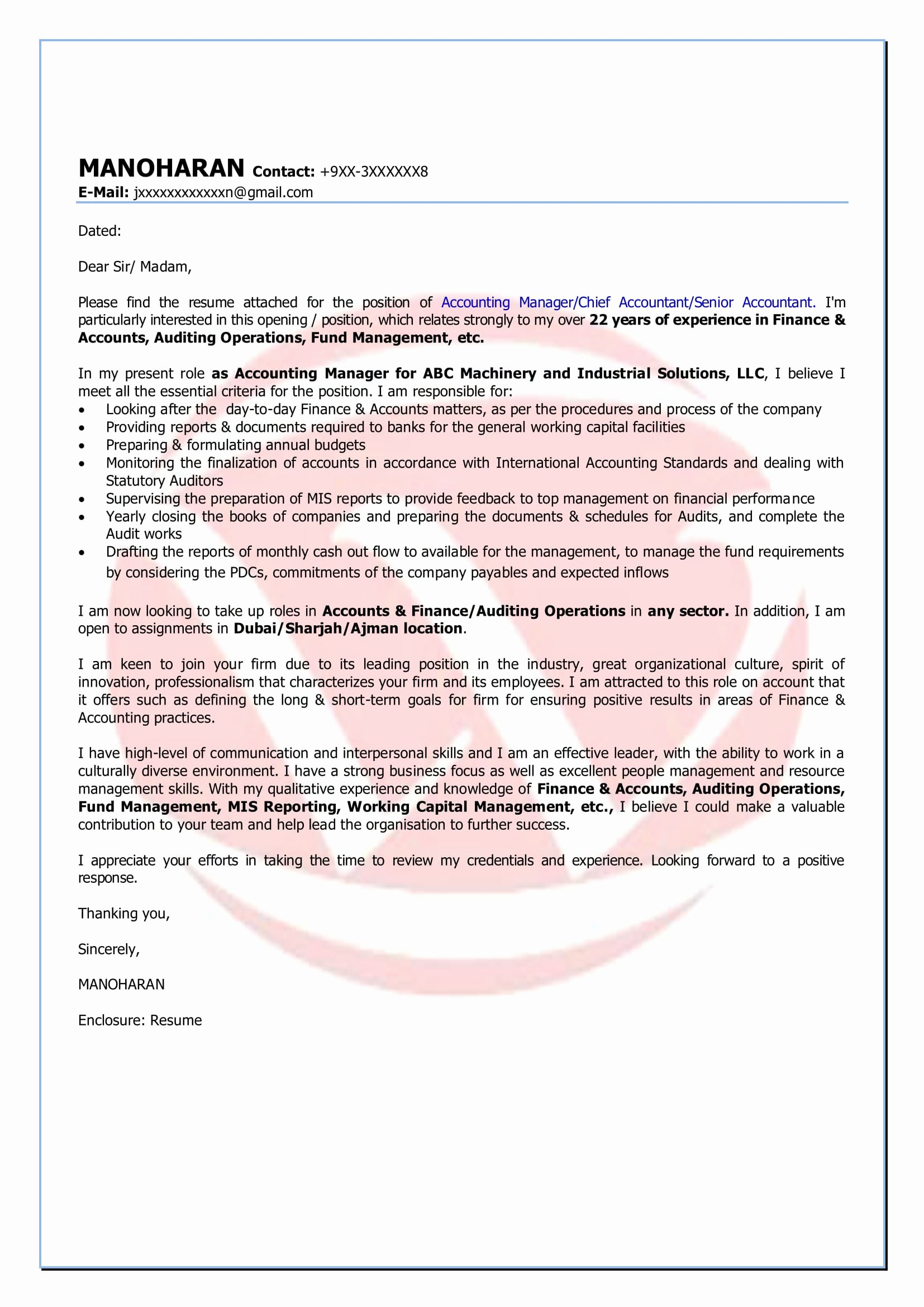 Cover Letter for Accountant Best Of Accounting Sample Cover Letter format Download Cover