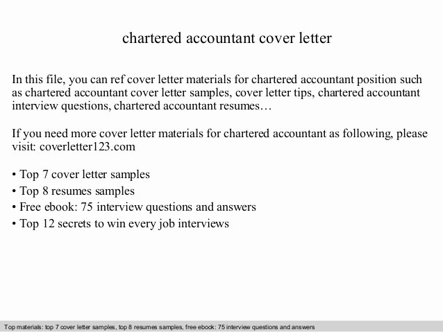 Cover Letter for Accountant Best Of Chartered Accountant Cover Letter