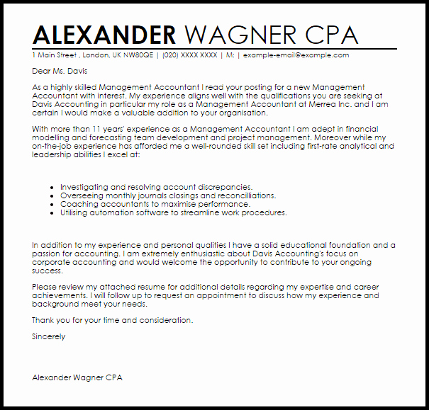 Cover Letter for Accountant Fresh Management Accountant Cover Letter Sample