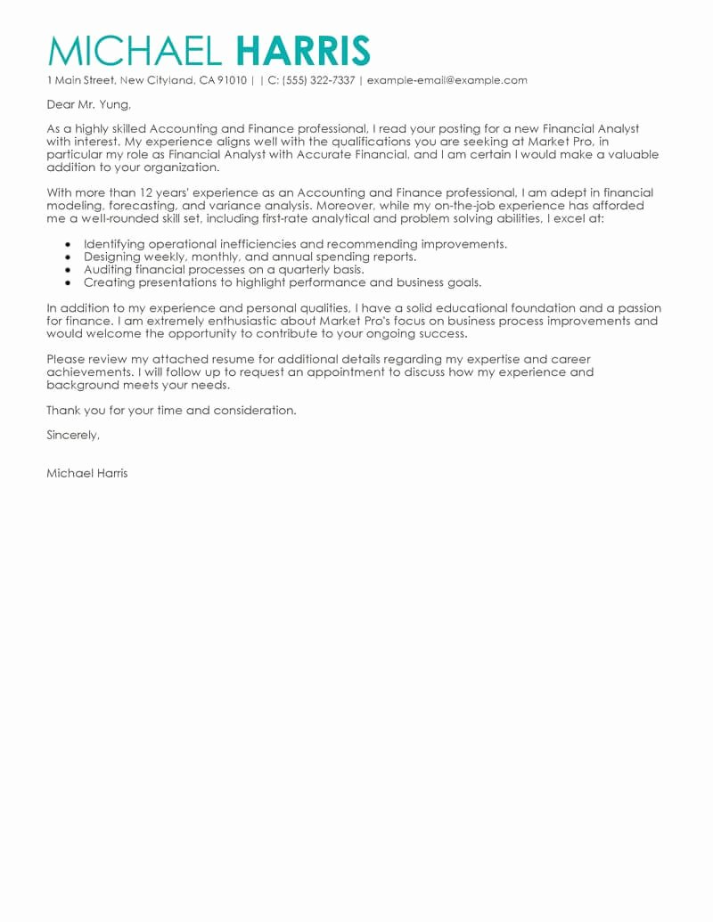Cover Letter for Accounting Position Fresh Best Accounting & Finance Cover Letter Examples