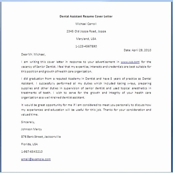 Cover Letter for assistant Beautiful Dental assistant Cover Letter