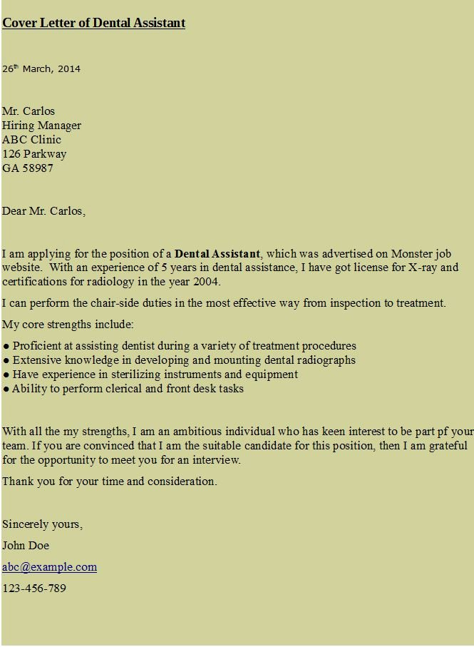Cover Letter for assistant Best Of Cover Letter for Dental assistant