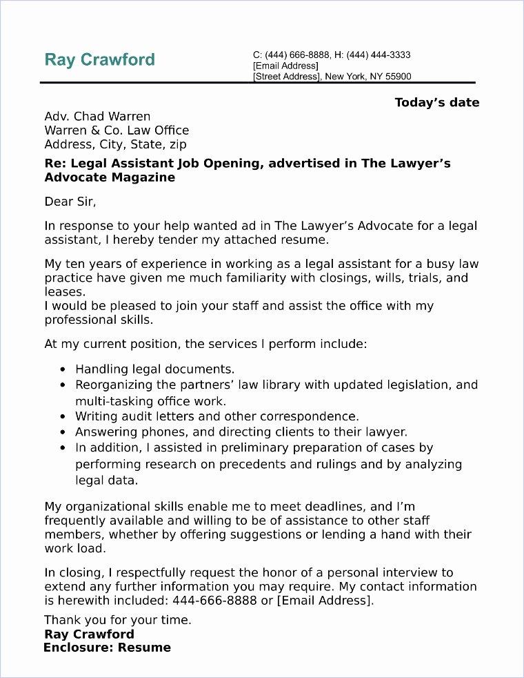 Cover Letter for assistant Elegant Legal assistant Cover Letter Sample