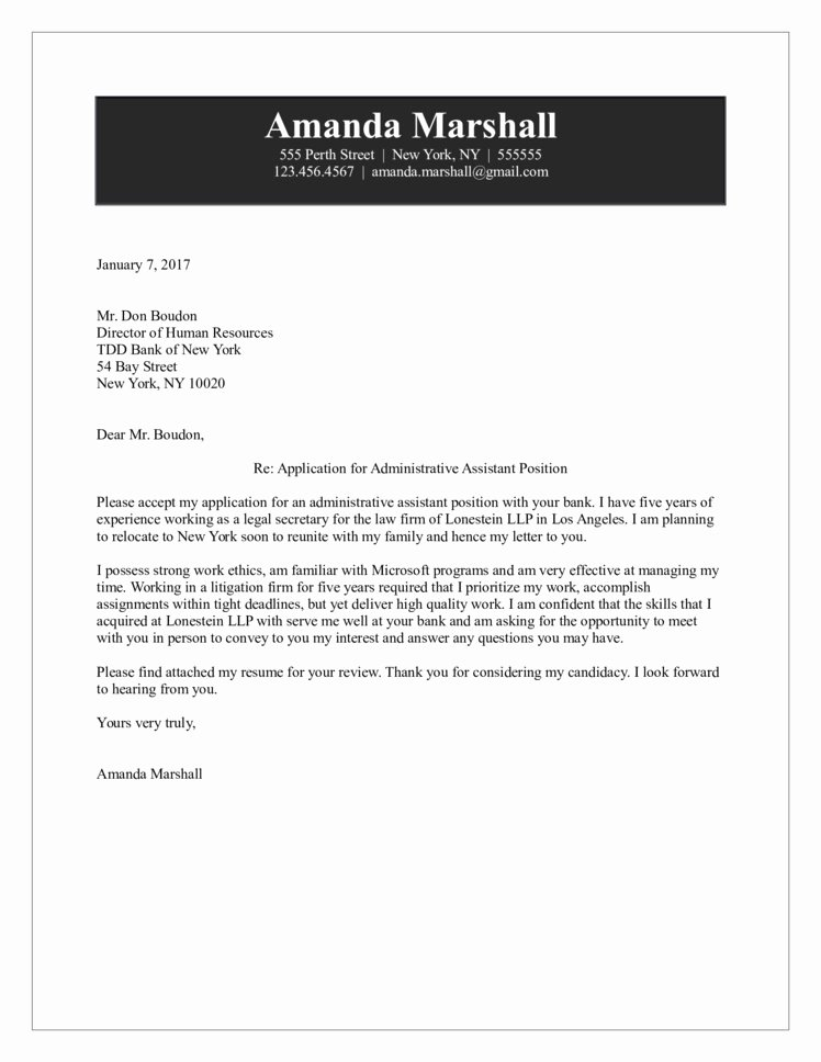 Cover Letter for assistant Luxury Administrative assistant Cover Letter