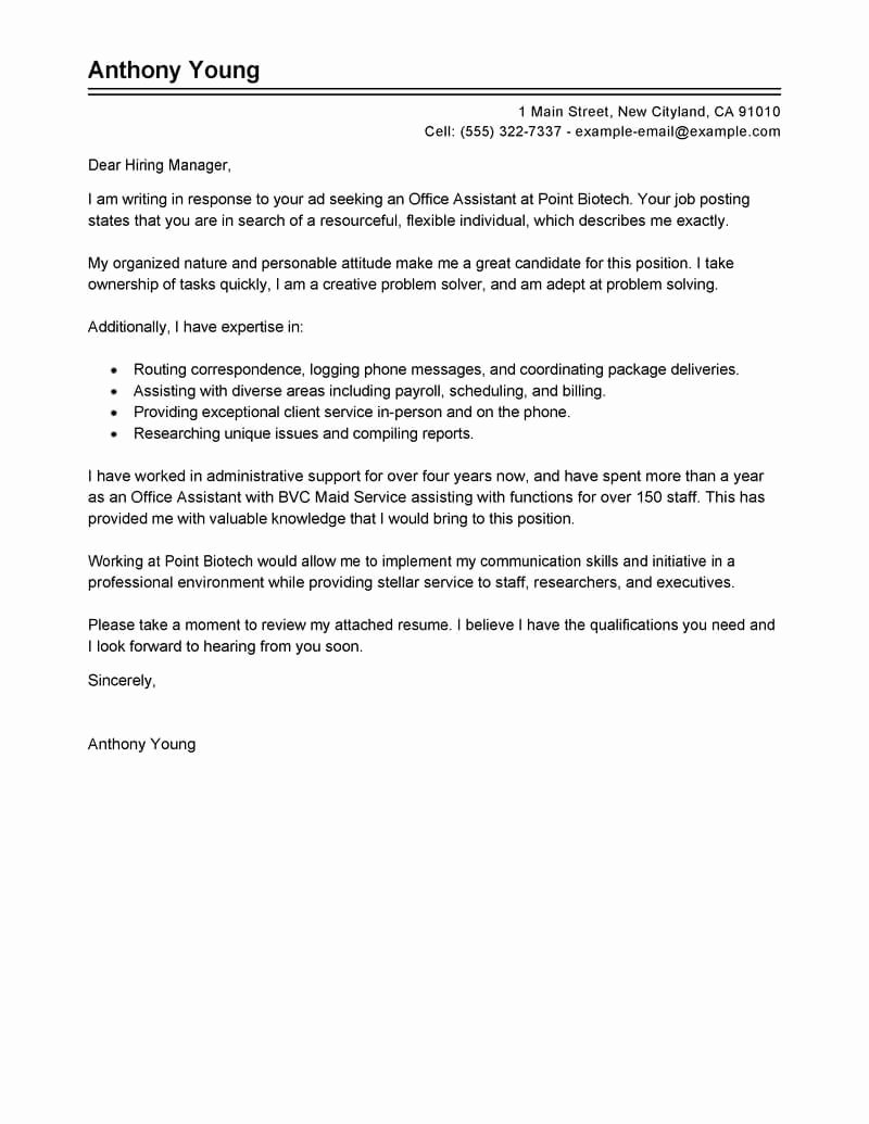 Cover Letter for assistant New Best Store Administrative Cover Letter Examples