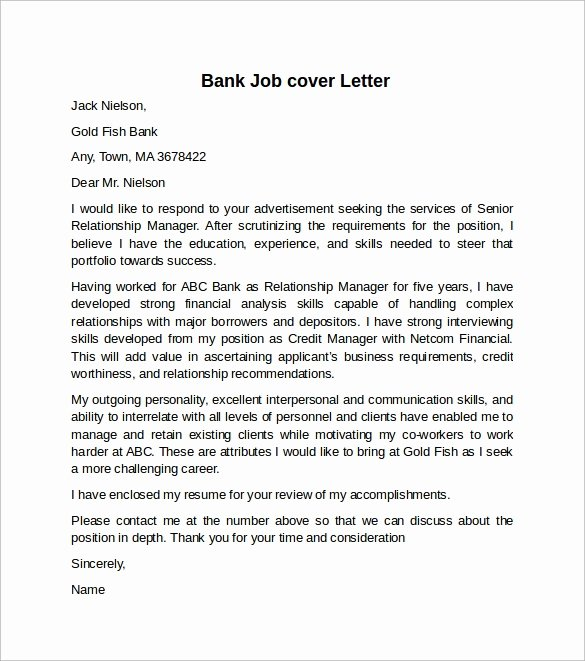 Cover Letter for Bank Awesome Cover Letter Example for Job 10 Download Free Documents