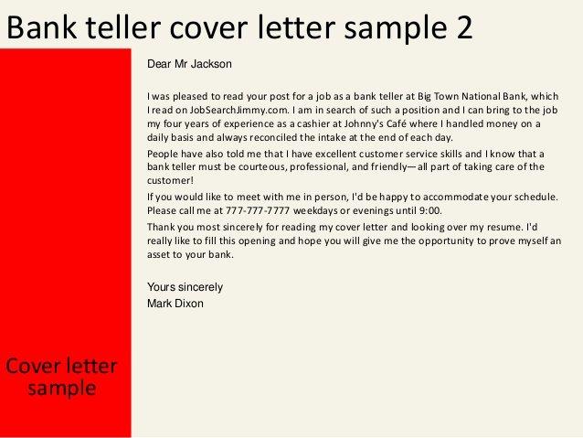 Cover Letter for Bank New Bank Teller Cover Letter