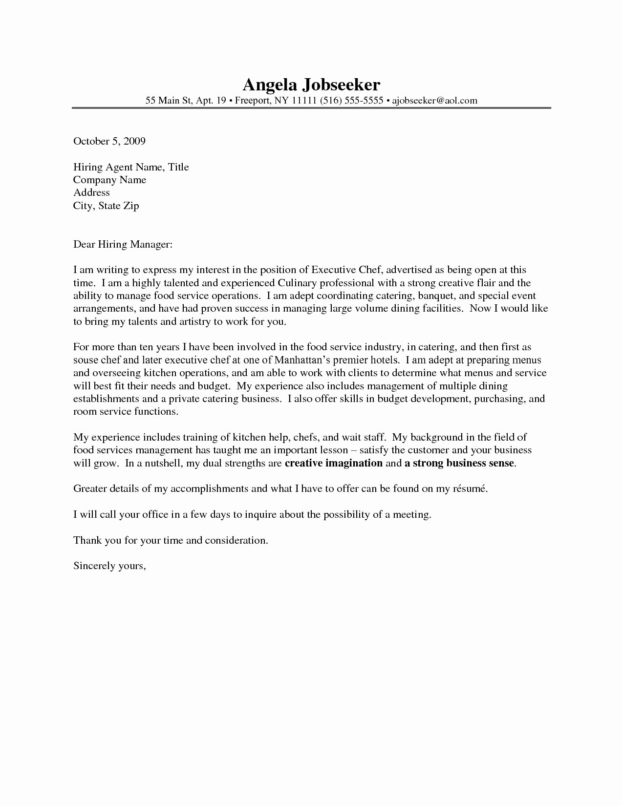 Cover Letter for Chef Awesome Chef Cover Letter Examples Icebergcoworking