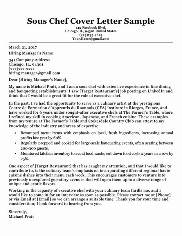 Cover Letter for Chef Awesome Chef Cover Letter Sample & Writing Tips