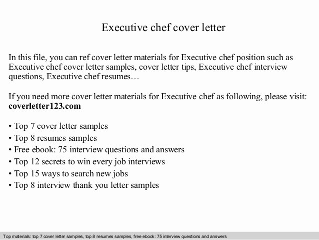 Cover Letter for Chef Beautiful Executive Chef Cover Letter