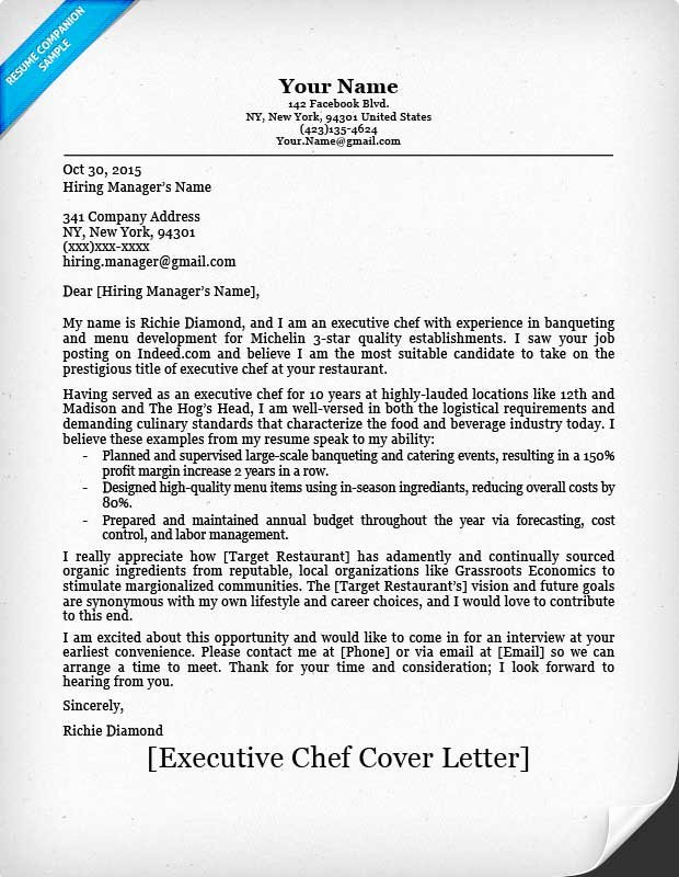 head chef cover letter templates