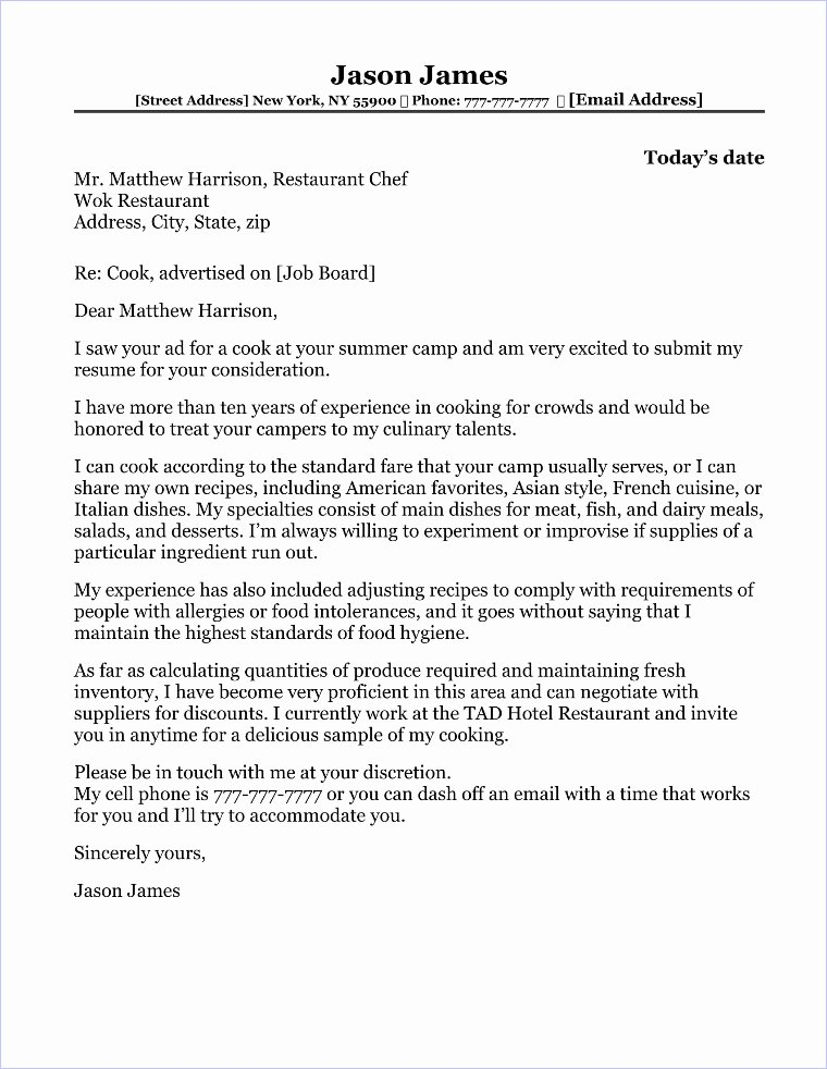 Cover Letter for Chef Lovely Travel Agent Cover Letter Sample