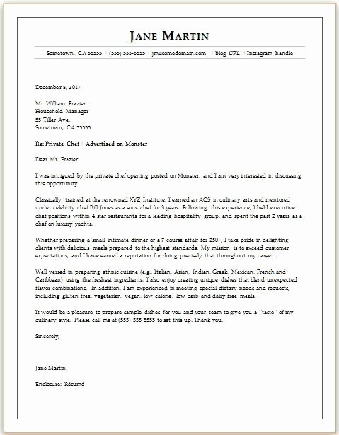 Cover Letter for Chef Luxury Chef Cover Letter Sample