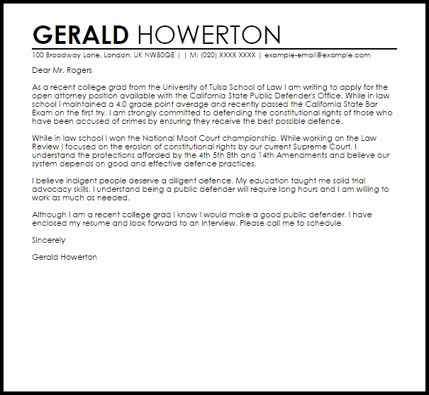 Cover Letter for College Beautiful Recent College Grad S Cover Letter Sample