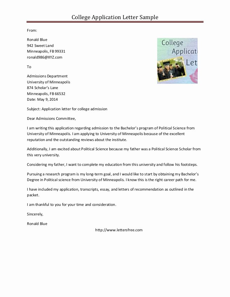 Cover Letter for College Lovely Sample College Application Letter