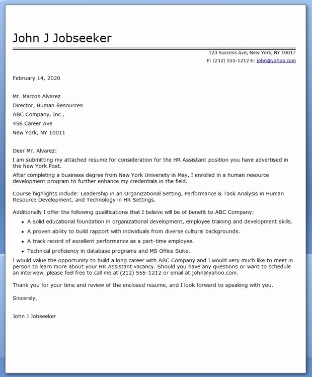 Cover Letter for College Unique College Grad Cover Letter Sample