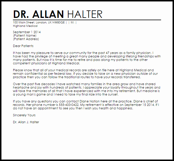 Cover Letter for Doctors Beautiful Physician Retirement Letter Example