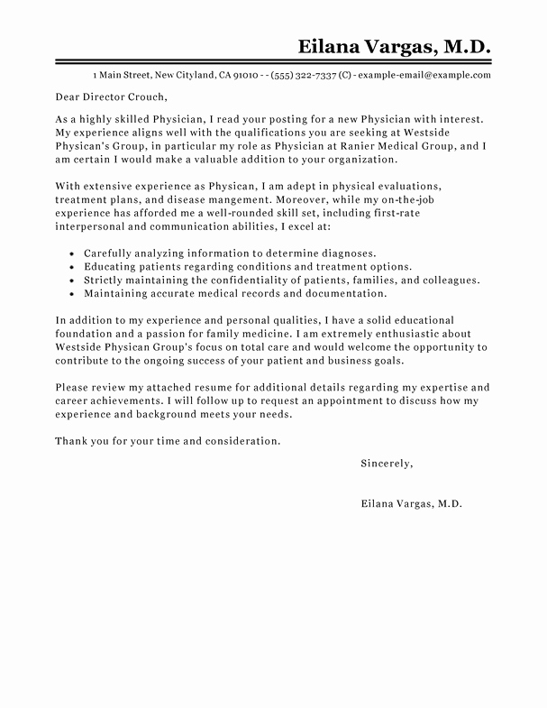 Cover Letter for Doctors Best Of Best Doctor Cover Letter Examples