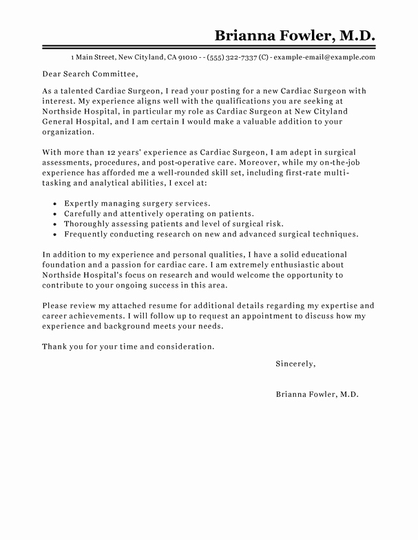 Cover Letter for Doctors New Best Surgeon Cover Letter Examples