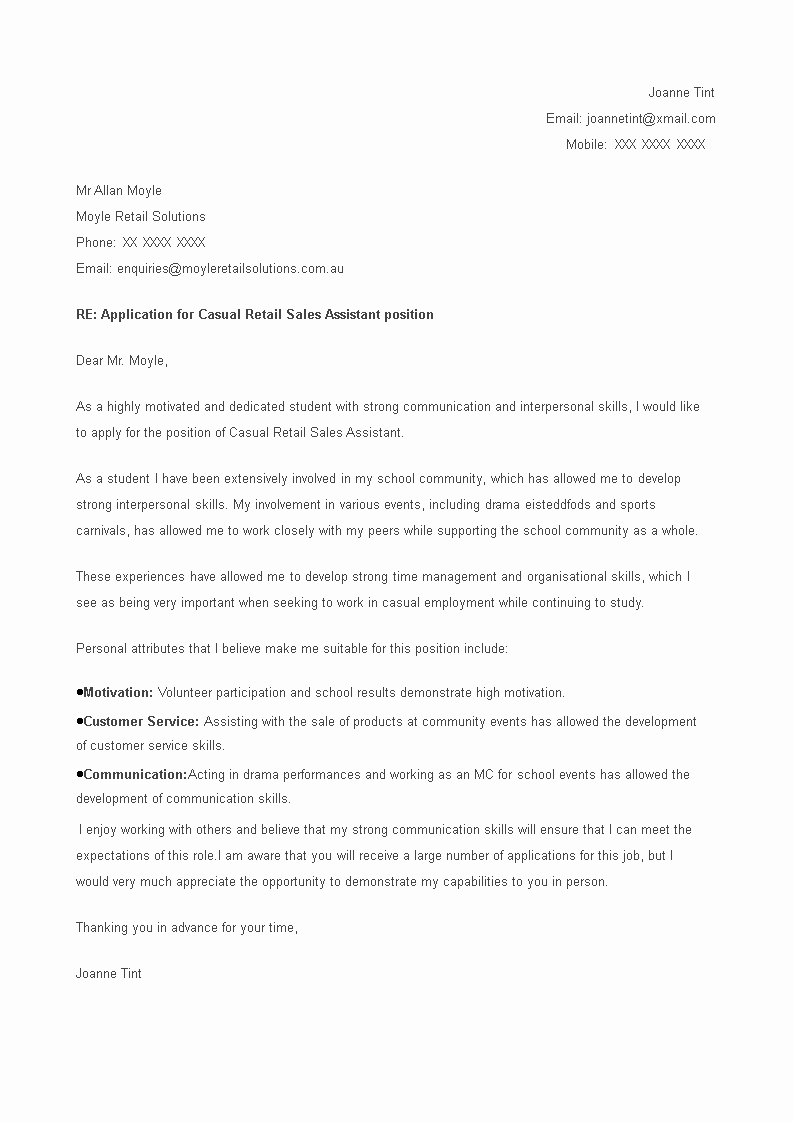 Cover Letter for First Job Beautiful Student First Job Cover Letter