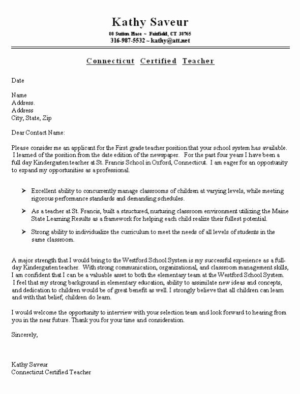 Cover Letter for First Job Lovely First Grade Teacher Cover Letter Example