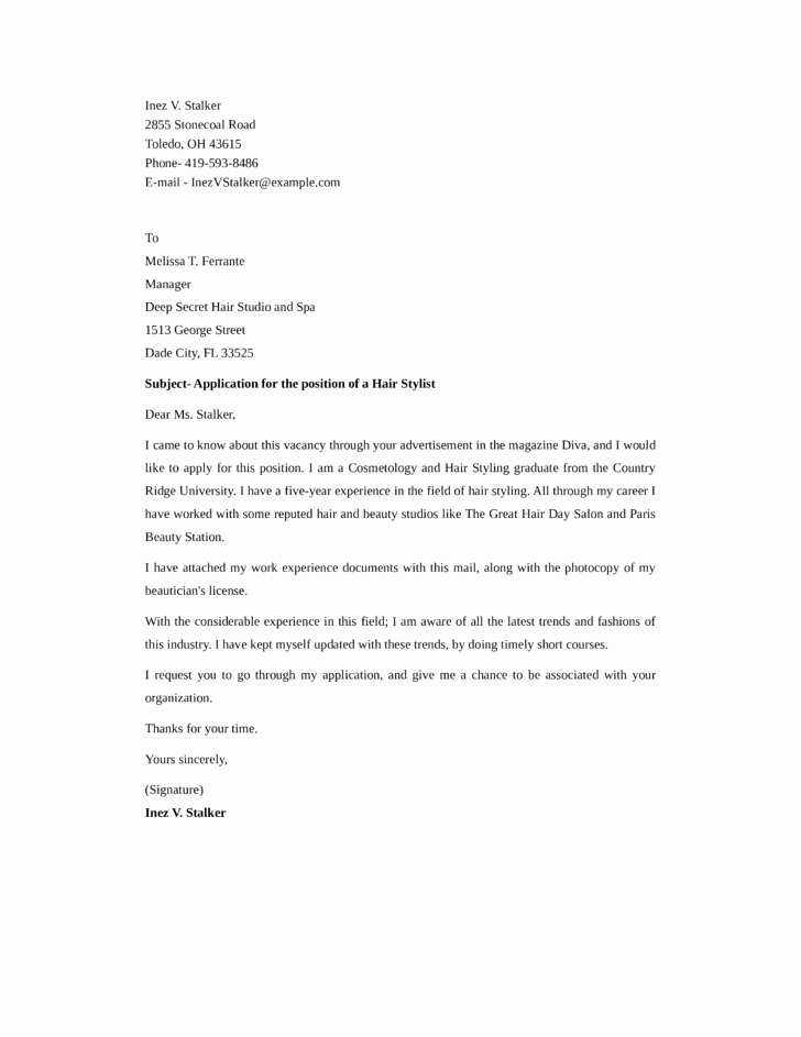 Cover Letter for Hairstylist Beautiful Cover Letter Template for Hairstylist Writerstable Web