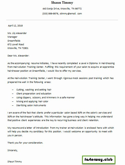 Cover Letter for Hairstylist Elegant Hairdresser Apprentice Cover Letter 1