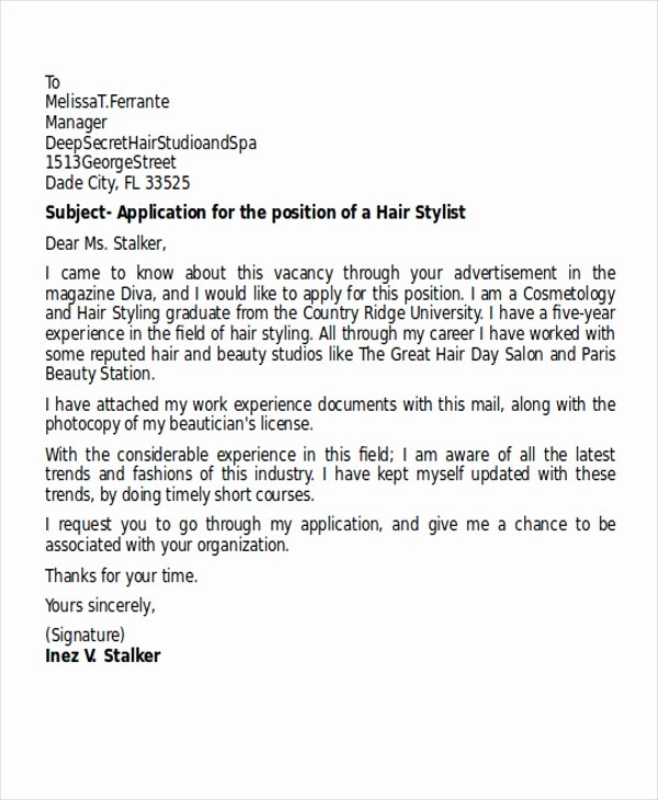 Cover Letter for Hairstylist Fresh 9 Hair Stylist Cover Letters