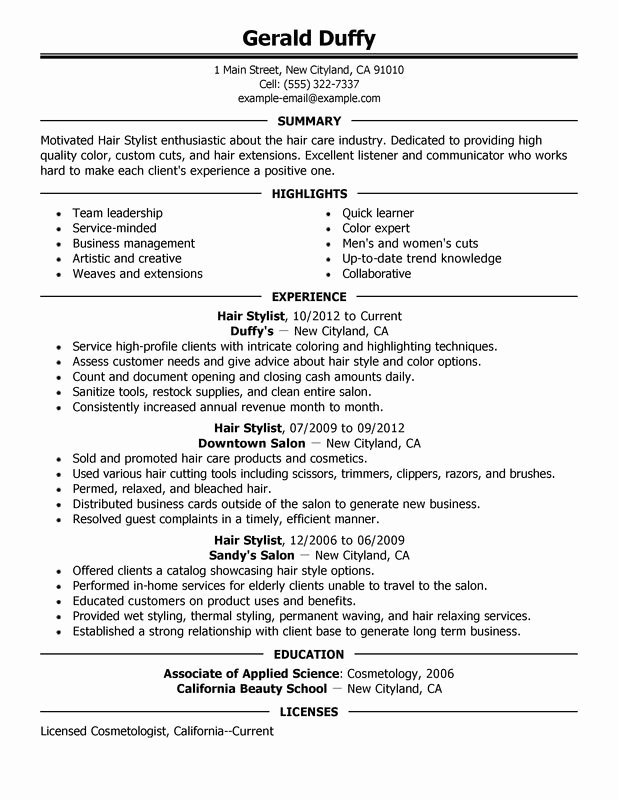 Cover Letter for Hairstylist Fresh Hair Stylist Resume Examples Created by Pros