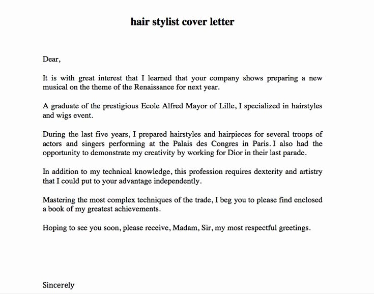 Cover Letter for Hairstylist New 1000 Images About Free Resume Sample On Pinterest