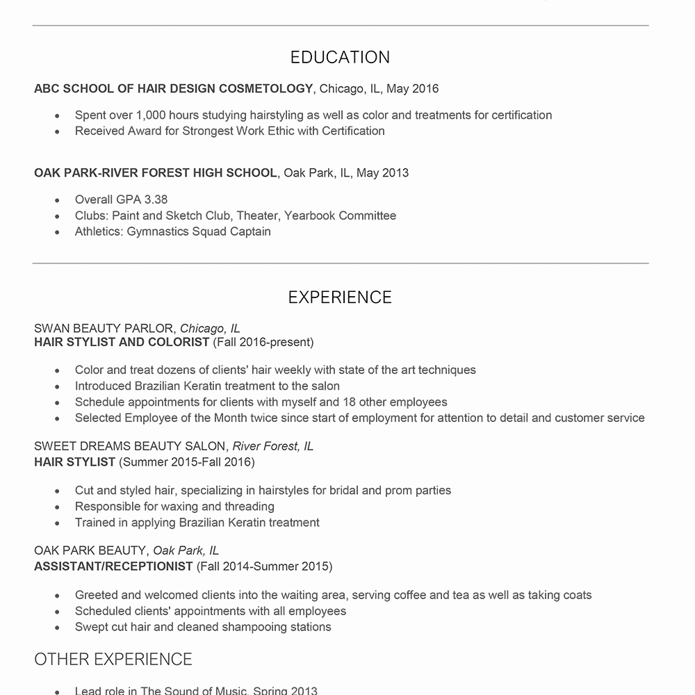 Cover Letter for Hairstylist New Hair Stylist Cover Letter and Resume Examples