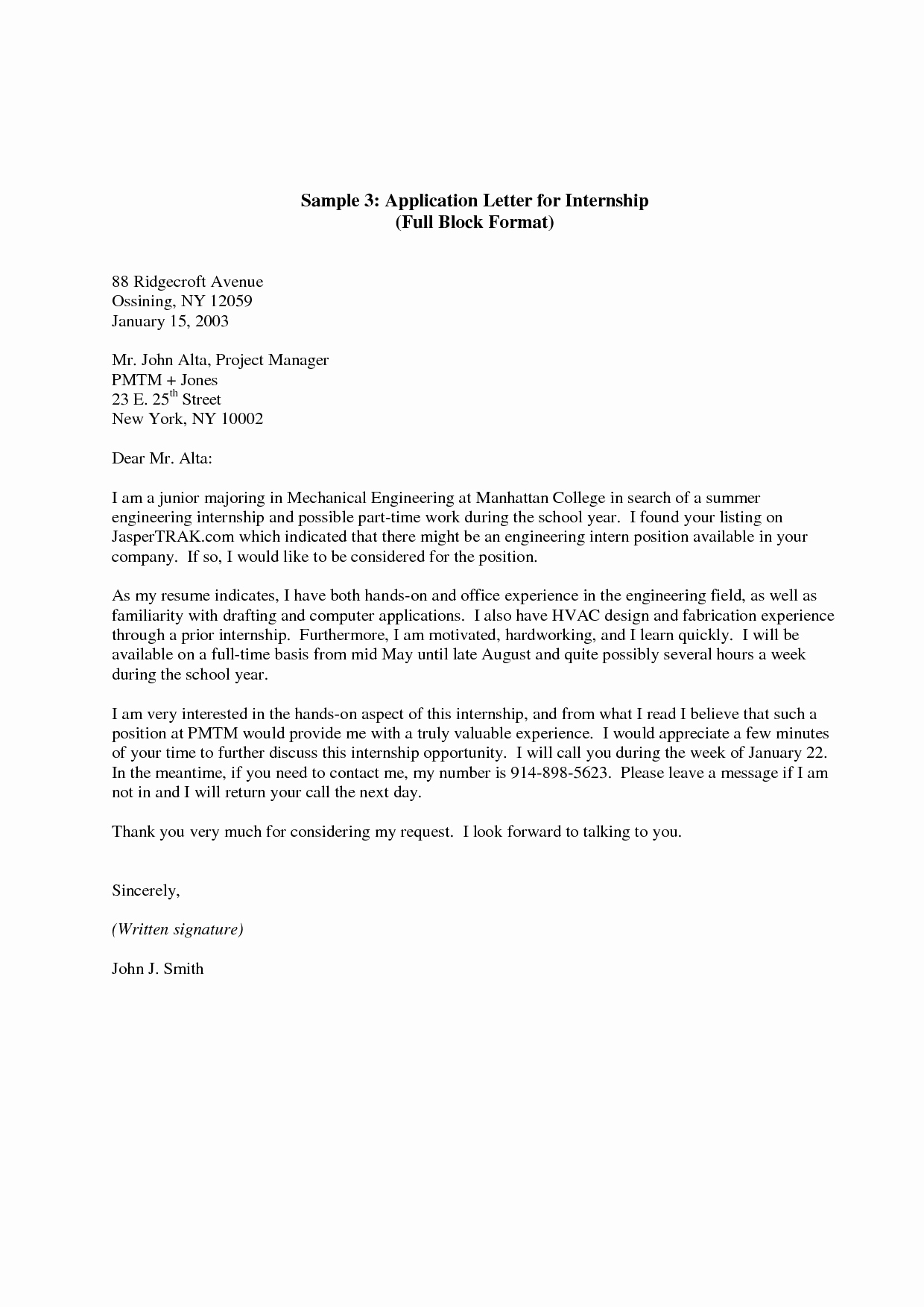 Cover Letter for Internship Examples Awesome Internship Application Letter Here is A Sample Cover