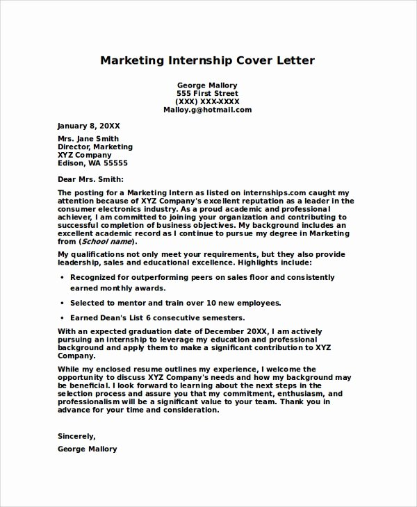 Cover Letter for Internship Examples Best Of 8 Internship Cover Letters Samples Examples Templates