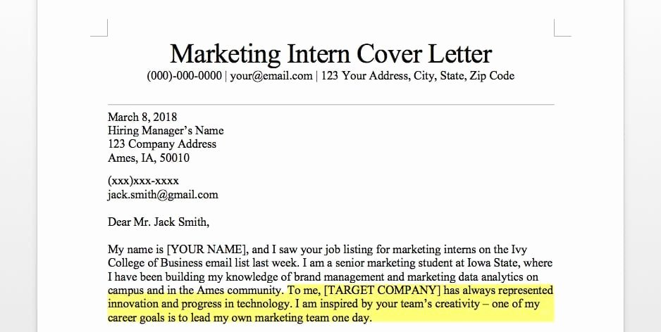 Cover Letter for Internship Examples Elegant Marketing Intern Cover Letter Sample & Guide