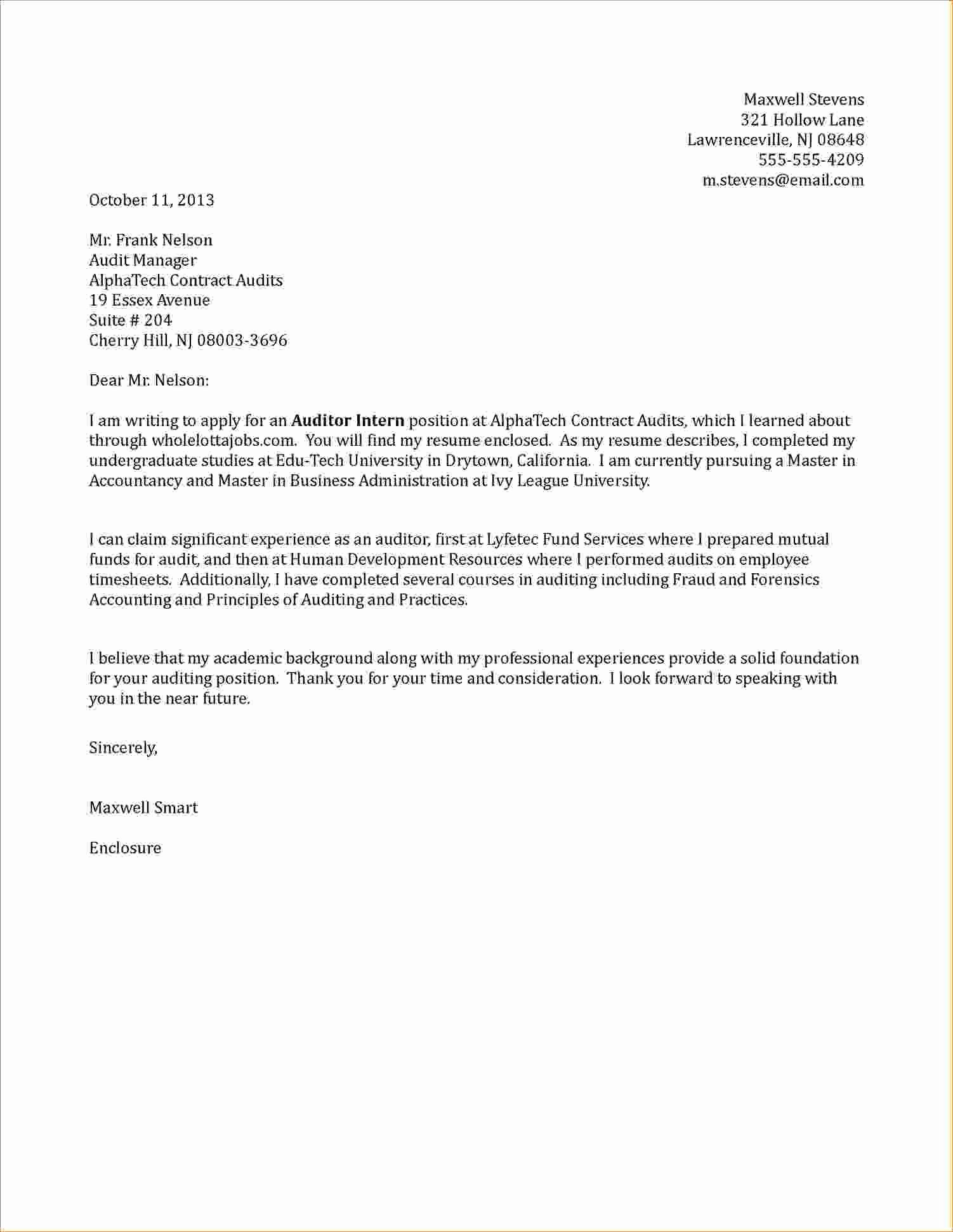 Cover Letter for Internship Examples Inspirational Internship Cover Letter