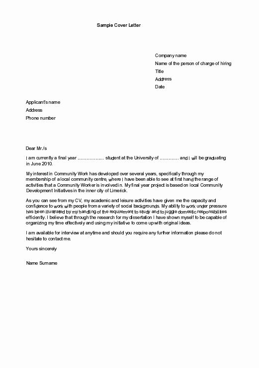 Cover Letter for Internship Examples Lovely Sample Cover Letters for Employment