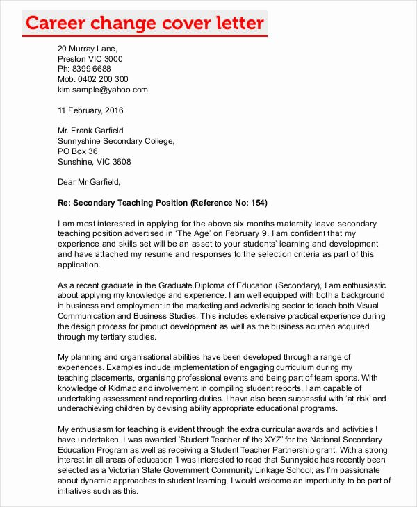 Cover Letter for Job Change Elegant Career Change Cover Letters 7 Free Word Pdf format
