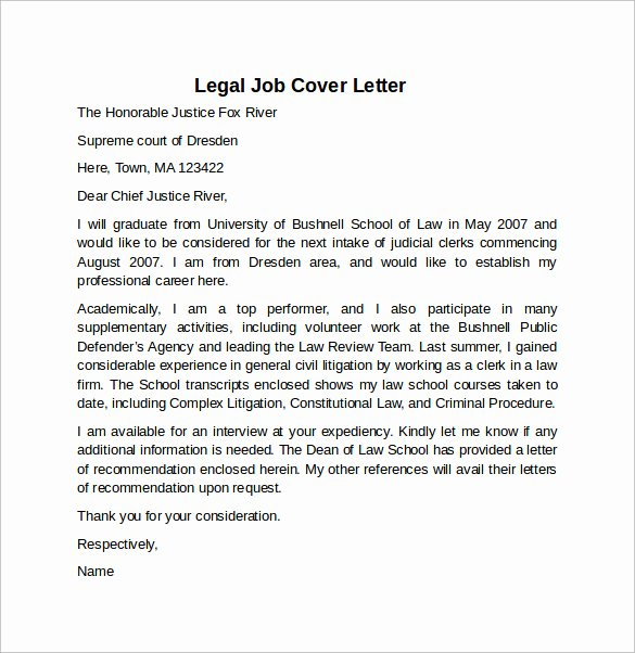 Cover Letter for Legal Job Lovely Cover Letter Example for Job 10 Download Free Documents