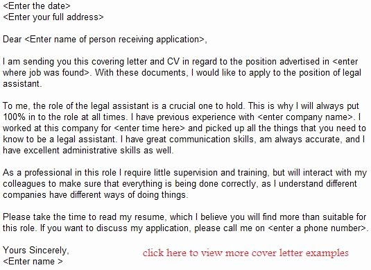 Cover Letter for Legal Job Luxury Legal assistant Job Application Letter Example Learnist