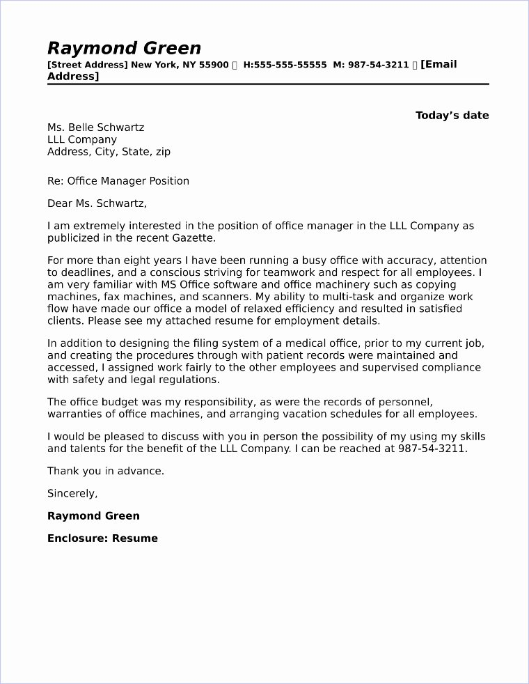 Cover Letter for Manager Best Of Fice Manager Cover Letter Sample