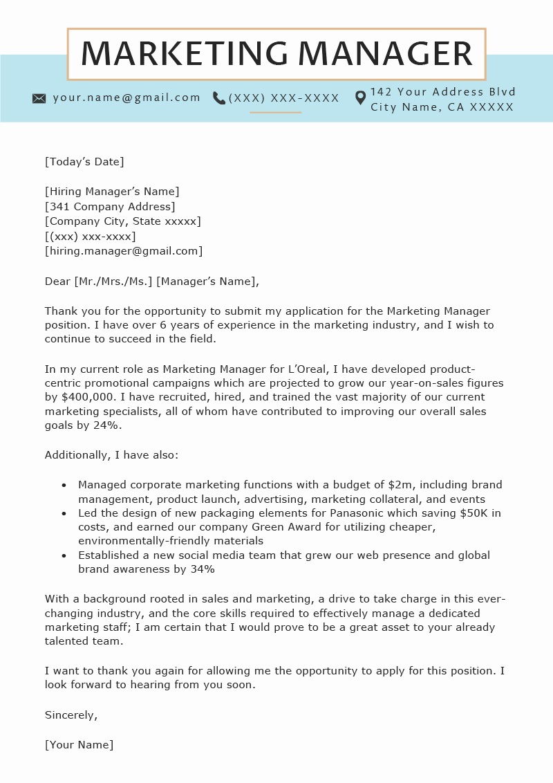 Cover Letter for Manager Fresh Marketing Manager Cover Letter Sample