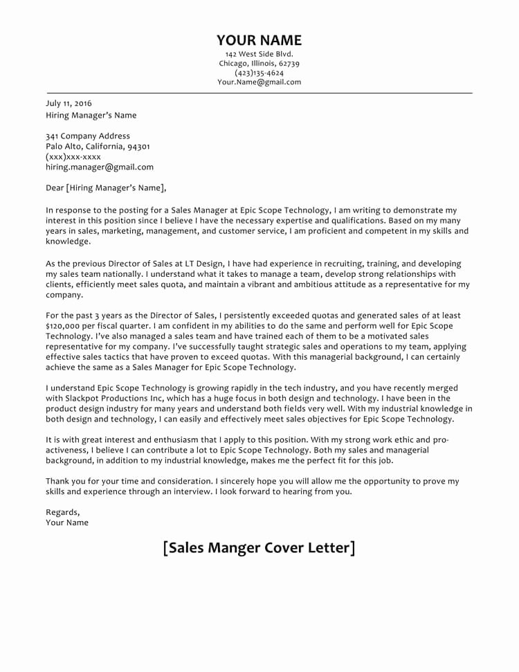 Cover Letter for Manager Unique 66 Cover Letter Samples and Correct format to Write It