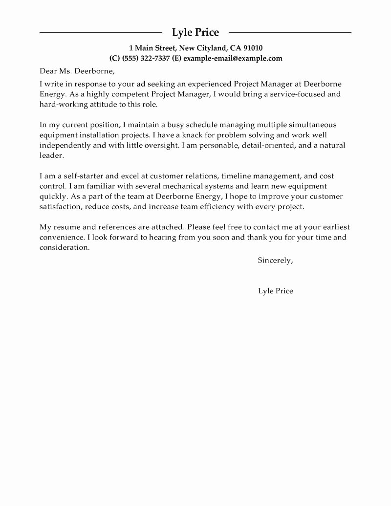 Cover Letter for Manager Unique Best Manager Cover Letter Examples