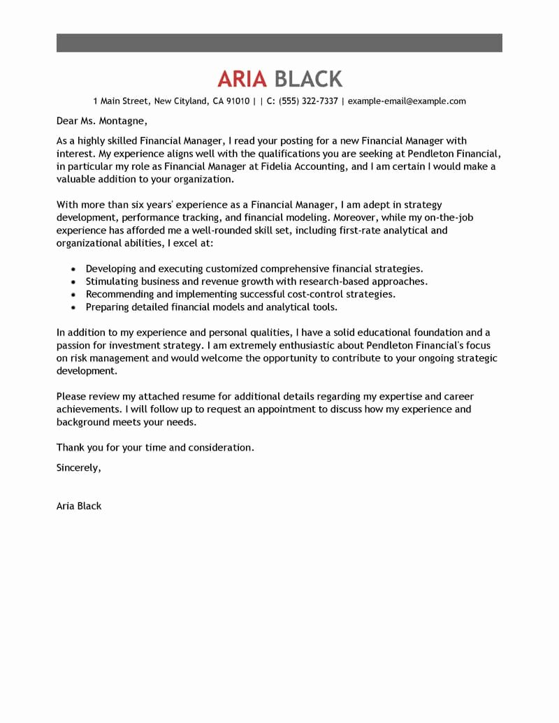 Cover Letter for Manager Unique Leading Professional Manager Cover Letter Examples
