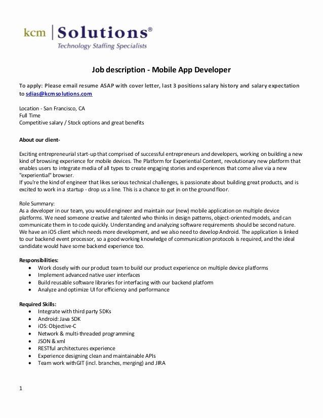 Cover Letter for Net Developer Best Of Mobile App Developer