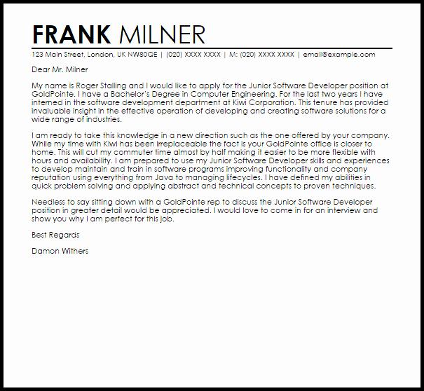 Cover Letter for Net Developer Elegant Junior software Developer Cover Letter Sample